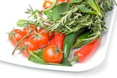 Verse groenten in plaat Stock Foto's
