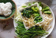 Verse groenten voor rijstvermicelli met kerriesoep Royalty-vrije Stock Afbeelding