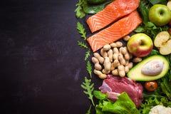 Verse groenten, vruchten, vissen, vlees, noten Stock Foto