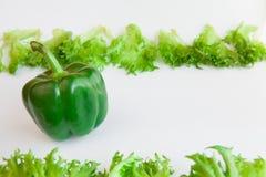 Verse groenten - zoete groene paprika en bladeren van frillis Peper, Groen Rood, Geel, Oranje, Royalty-vrije Stock Afbeelding