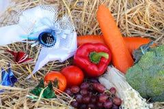 Verse groentenbroccoli en druiven op stro Royalty-vrije Stock Foto