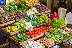 Verse groentenmarkt madera Funchal, gezonde voeding Royalty-vrije Stock Afbeelding