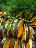 verse groentenratatouille - de traditionele Franse plantaardige schotel van Provencal die in oven wordt gekookt Voedsel van de di royalty-vrije stock afbeeldingen
