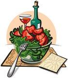 Verse groentesalade en wijn vector illustratie