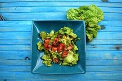 Verse groentesalade, gezond voedsel, tomaten en saladebladeren Gezonde kippensalade met verse groenten Royalty-vrije Stock Foto