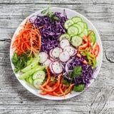 Verse groentesalade met rode kool, komkommer, radijs, wortelen, paprika's, rode ui en peterselie op een witte plaat Royalty-vrije Stock Foto