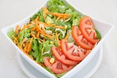 Verse groentesalade met tomaten en wortelen Royalty-vrije Stock Foto's