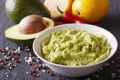Verse guacamolesaus met ingrediëntenclose-up horizontaal Royalty-vrije Stock Foto's