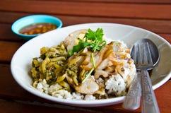 Verse ham op rijst stock foto
