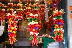 Verse hangende Spaanse pepers Stock Fotografie