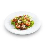 Verse heerlijke zalmbroodjes met roomkaas op sla stock afbeelding