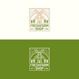 Verse het embleem vastgestelde rassenbarrière van de landbouwbedrijfwinkel met molen en tarwe voor natu Royalty-vrije Stock Foto