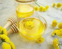 Verse honing, de gele bloem van de de behandelingschrysant van de aromazomer aromatherapy op concrete achtergrond royalty-vrije stock afbeeldingen