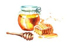 Verse honing met Honingraten en honingsdipper Waterverfhand getrokken illustratie Stock Foto