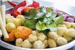 Verse Ingrediënten voor het Koken van de Close-up van de Kerriesaus Stock Foto's