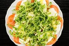 Verse Italiaanse Caprese-Salade op zwart hout royalty-vrije stock foto