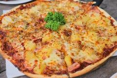 Verse kaas opperste en Hawaiiaanse pizza Stock Afbeeldingen