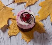 Verse kersencake om vorm op een lichte houten achtergrond Koekjescake op een houten lijst stock afbeelding
