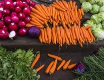 Verse kleurrijke groenten bij landbouwersmarkt Royalty-vrije Stock Afbeeldingen