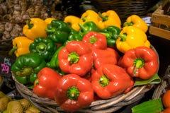Verse kleurrijke paprika'smand Royalty-vrije Stock Foto