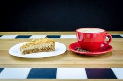 Verse Koffiekop met Kaastaart Royalty-vrije Stock Afbeeldingen