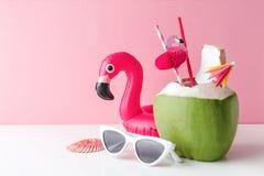 Verse kokosnoot op een pastelkleur roze achtergrond royalty-vrije stock foto's