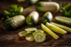 Verse komkommerplakken Stock Foto's