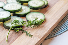 Verse komkommerplakken met lage de kant van het dillelandschap Stock Fotografie