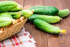 Verse komkommers in een mand Stock Foto