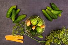 Verse komkommers in kruik Bewaarde groente royalty-vrije stock afbeelding