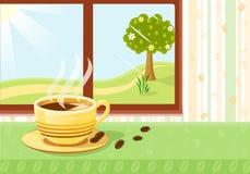 Verse kop van coffe bij ontbijt Royalty-vrije Stock Foto's
