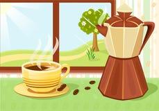 Verse kop van koffie bij ontbijt Stock Afbeeldingen