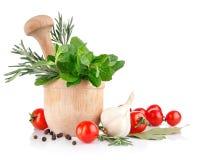 Verse kruid en groenten stock foto