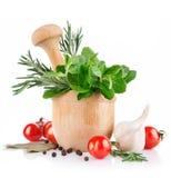 Verse kruid en groenten stock foto's