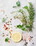 Verse kruiden en kruiden voor schotel Hoogste mening stock foto's