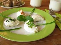 Verse Labneh - Gespannen yoghurt Stock Afbeeldingen