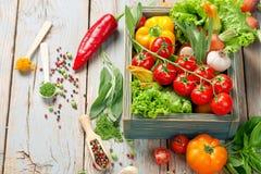 Verse landbouwbedrijfgroenten en kruiden op rustieke achtergrond Stock Fotografie