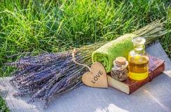 Verse lavendel, etherische olie en gezonde kruiden Zeep, handdoek en bloemensneeuwklokjes Natuurlijke schoonheidsmiddelen Royalty-vrije Stock Foto