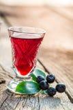 Verse likeur met alcohol en chokeberries stock foto