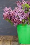 Verse lilac bloemen in de groene emmer op de oude houten lijst tegen blauwe geschilderde achtergrond Stock Foto