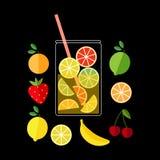 Verse Limonade Illustratie van een waterkruik limonade en vruchten Stock Afbeelding