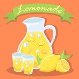 Verse Limonade Juice Pitcher met Groene Banner Stock Fotografie