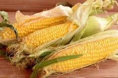 Verse maïskolven op een houten lijst Ruwe organische groenten close-up Royalty-vrije Stock Afbeeldingen