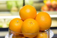 Verse mandarijnen in glas Royalty-vrije Stock Fotografie