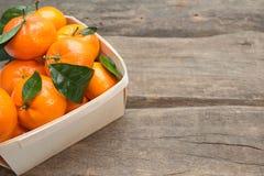 Verse mandarijnen met blad Stock Foto