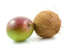 Verse mango en kokosnoot stock afbeeldingen