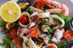 Verse Mediterrane zeevruchten Calamari, octopus, mosselen en garnalen met tomaten en citroen stock afbeeldingen