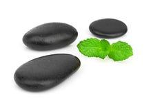 Verse munt op de zwarte stenen met dalingen Royalty-vrije Stock Fotografie