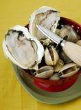 Verse oester met een oestermes Stock Afbeeldingen