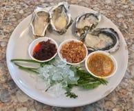 Verse oesters met Kruiden royalty-vrije stock fotografie